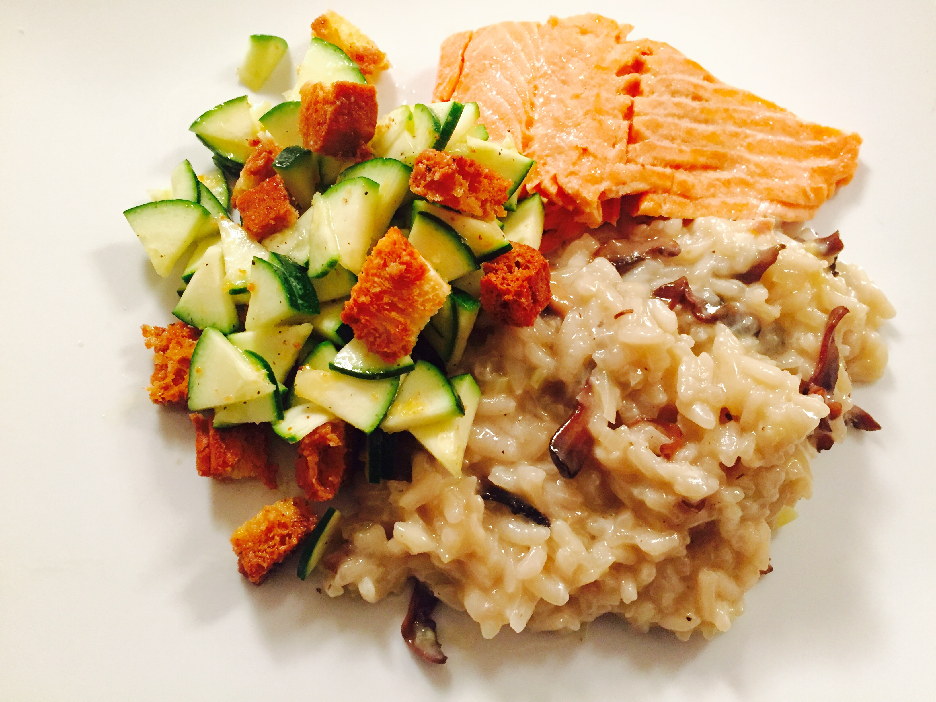Poached Trout with Mushroom Risotto and Zucchini Salad
