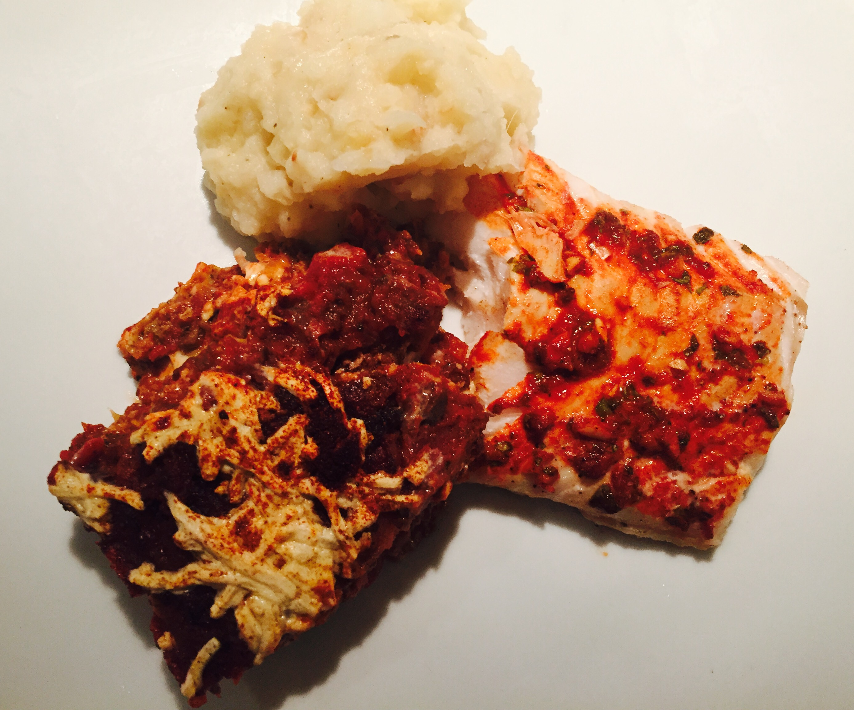 Baked Cod with Eggplant Parmesan & Garlic Mashed Potatoes