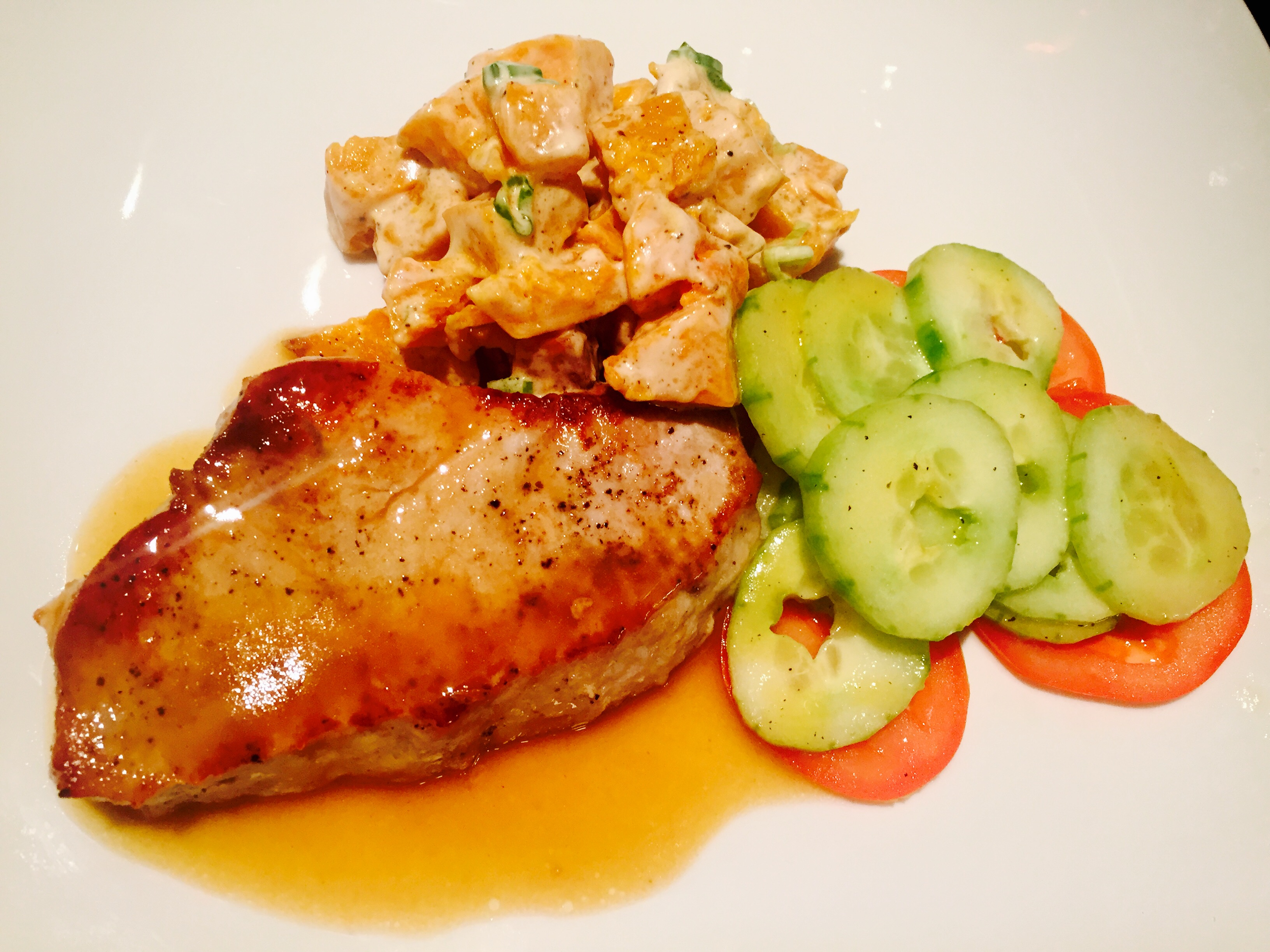 Seared Pork with Roasted Squash Salad and Cucumber-Tomato Medley