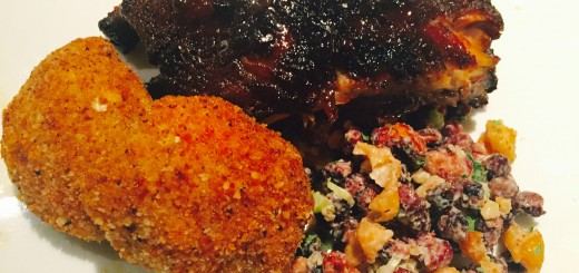 BBQ Baked Ribs with Deepfried Coxinhas and Roasted Bean Salad