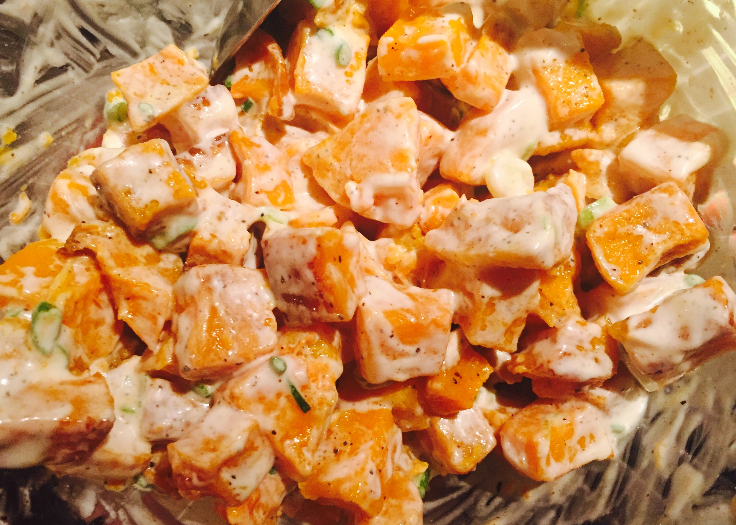 One of my favourite creations ... roasted butternut squash salad with a mayonnaise and dijon mustard dressing