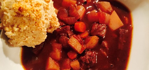 Braised beef stew with gluten free biscuits