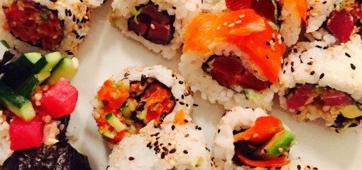 Seven types of homemade sushi made to mimic some favourites at our local sushi shop