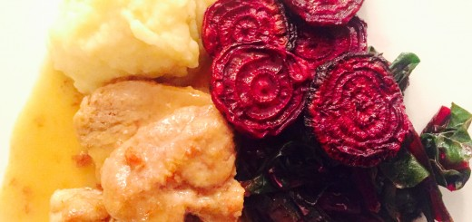 Pork tenderloin with roasted beets, sauteed beet greens and garlic mashed potatoes