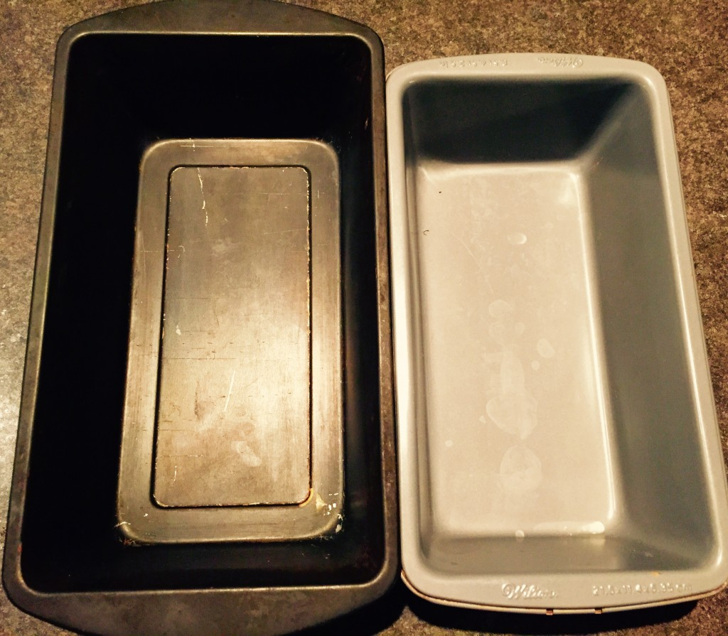 """Be careful not to use the slightly smaller 8.5"""" x 4.5"""" pans for this gluten free banana bread recipe as the batter will overflow, you'll need a real 9"""" x 5"""" like the one pictured here at the left to make things work."""