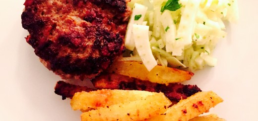 Ground Pork Burgers with Home Fries and Creamy Fennel Salad