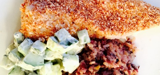 Baked breaded cod with cucumber salad and wild rice