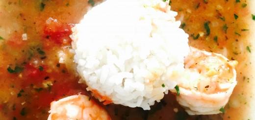 Shrimp etouffe with white rice