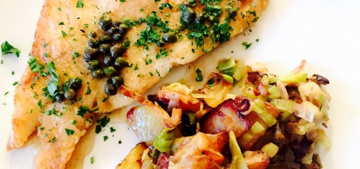 Delicious sole meuniere with a hearty side if my leek & potato hash