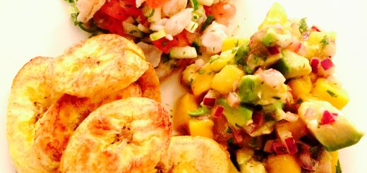 Honduran shrimp seviche with plantain chips and mango/ avocado salsa
