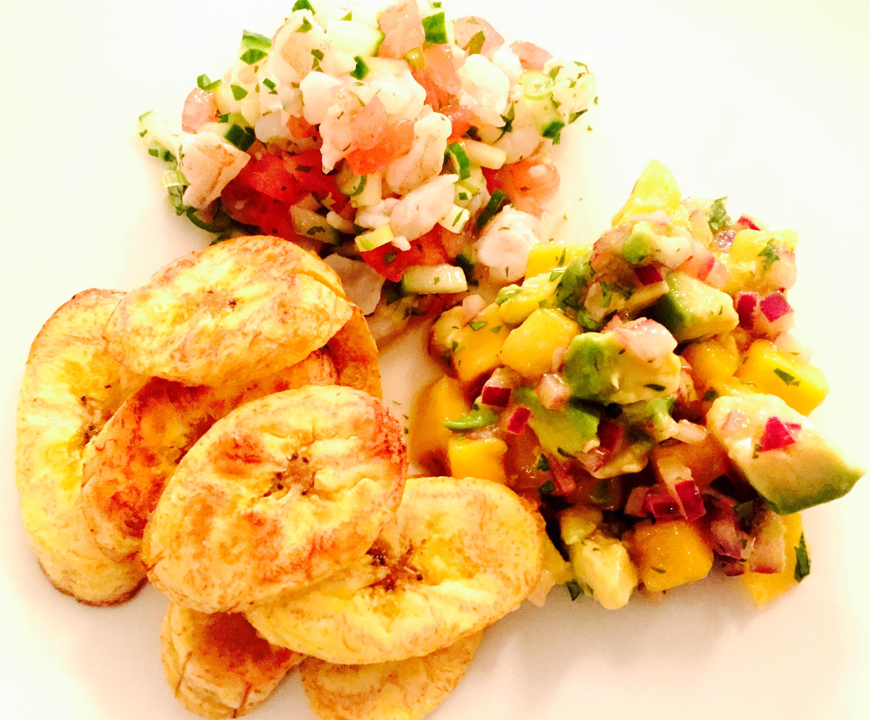 Honduran Shrimp Ceviche with Plantain Chips & Mango ...