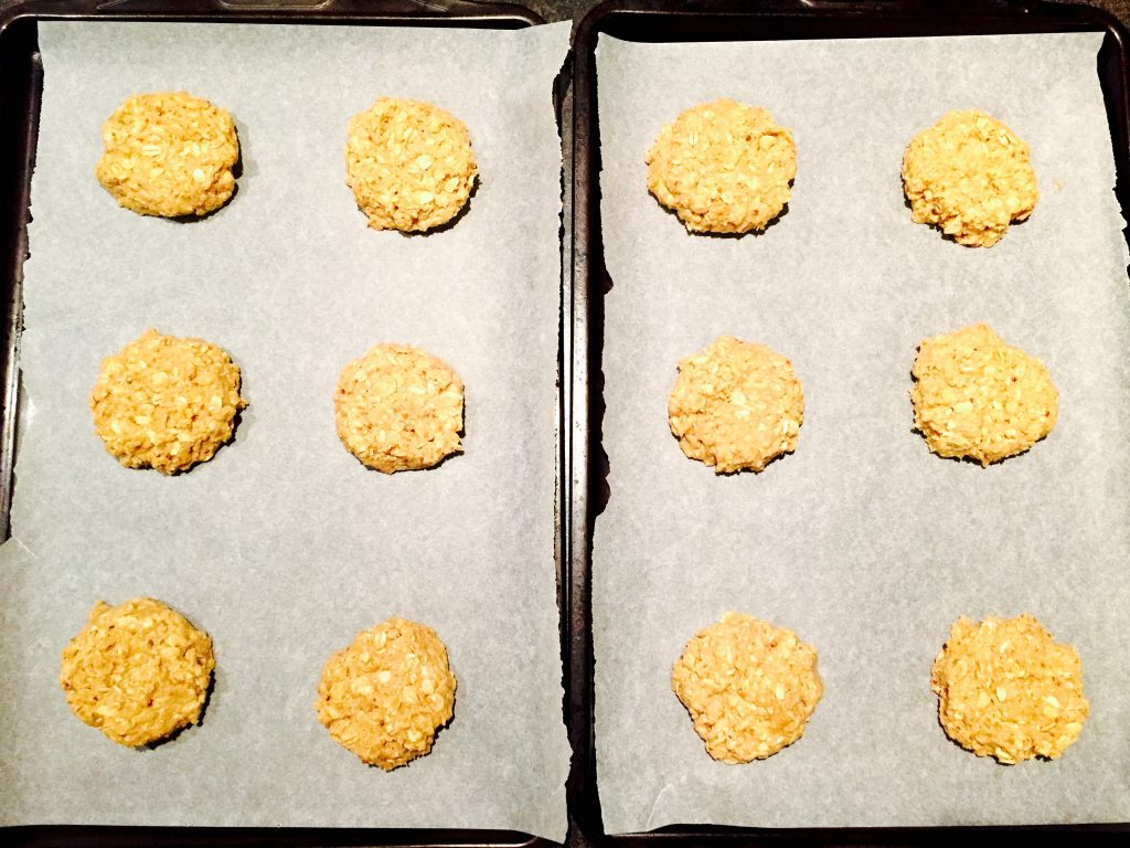 Space the drop cookies evenly on 2 baking sheets lined with parchment paper