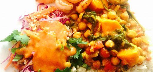 Thai quinoa salad with chickpea curry and sauteed shrimp