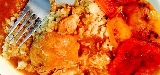 Romanian chicken paprikash on cauliflower rice with ardei copti salad