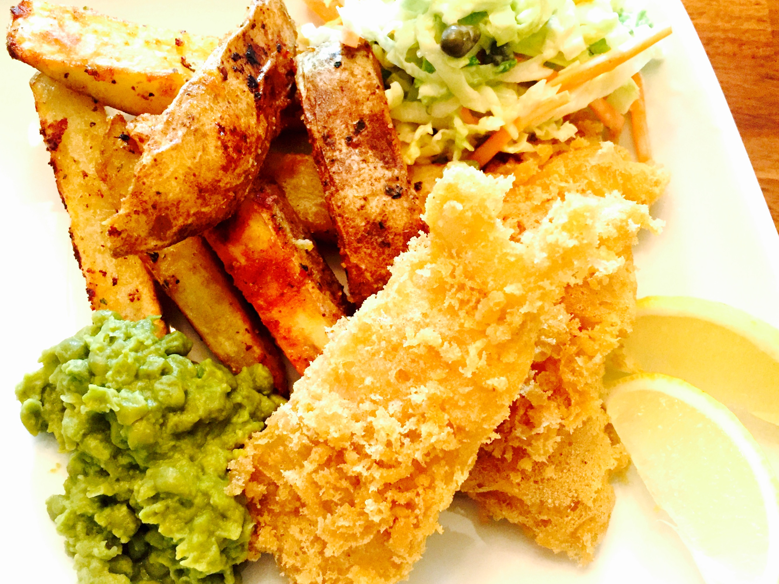 Gluten free fish and chips with mushy peas home cut fries for Gluten free fish and chips