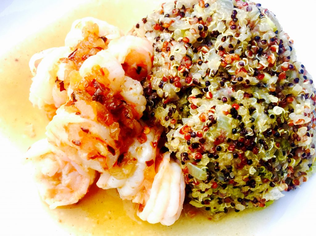 Filipino halabos na hipon with Pinoy style quinoa