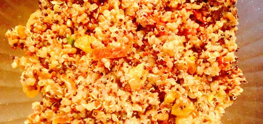 Completely addictive quinoa salad with sun derived tomatoes, golden raisins and toasted sunflower seeds