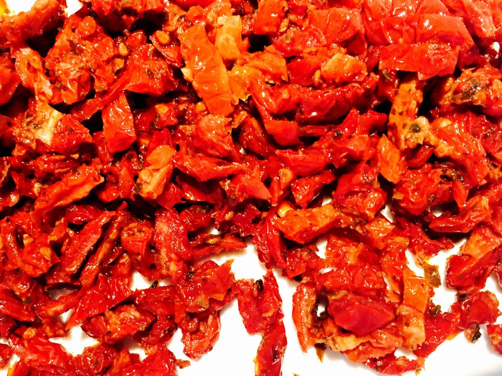 Chopped sun-dried tomatoes, my favourite brand comes packed in a jar ...