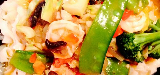 Shrimp pad thai with fresh garden vegetables and a sweet and spicy soy free sauce