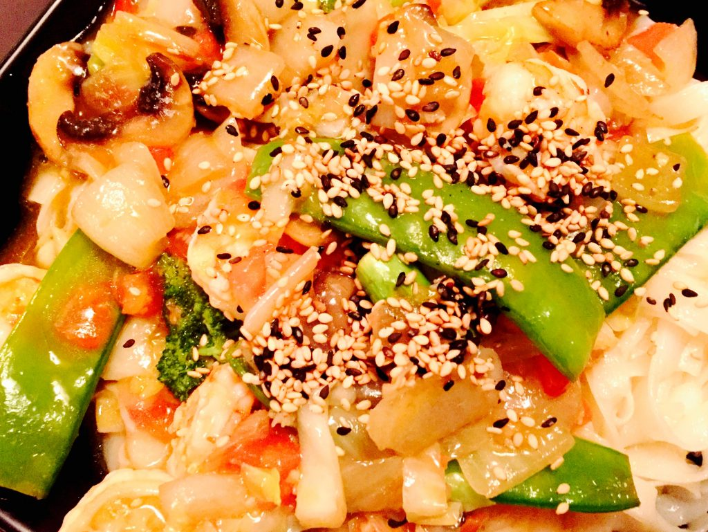 Colourful sesame seeds, an optional added touch