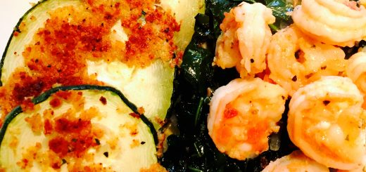 Breaded zucchini with sautéed shrimp and turnip greens