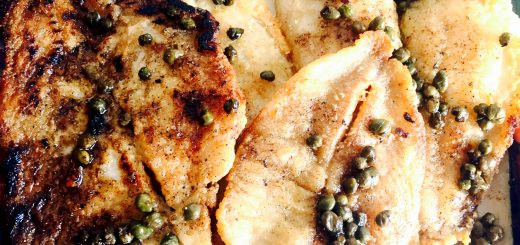 Warm, fragrant, gluten frer sole meuniere, dotted with capers and smothered in buttery deliciousness