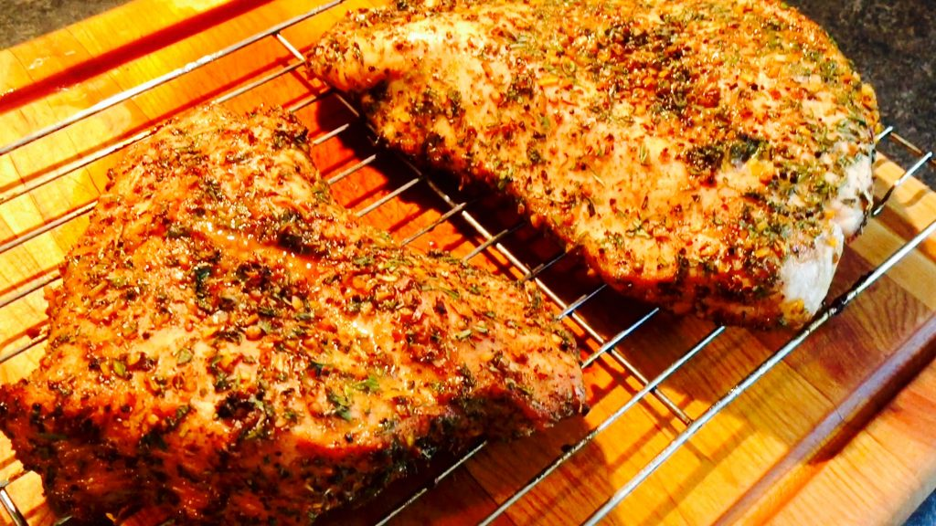 Succulent roasted turkey breast in a delicious rub complete with brown sugar and fresh herbs