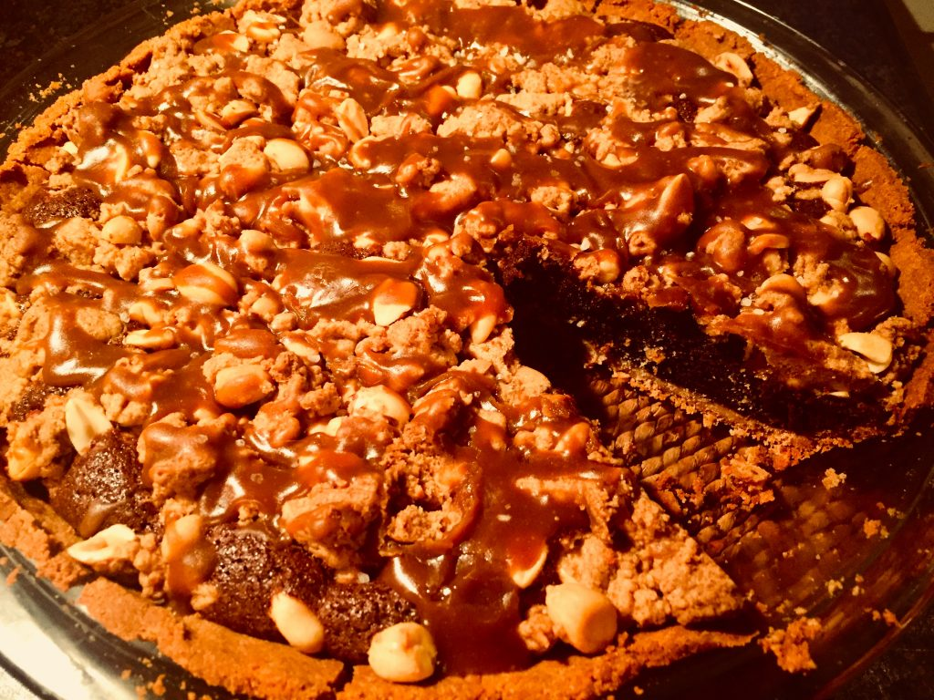 This gluten free & dairy free salted caramel peanut butter fudge pie is an absolute pleasure to enjoy ... especially with homemade dairy free caramel sauce