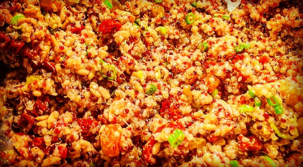 Hearty vegetarian quinoa salad with tangy lemon dressing