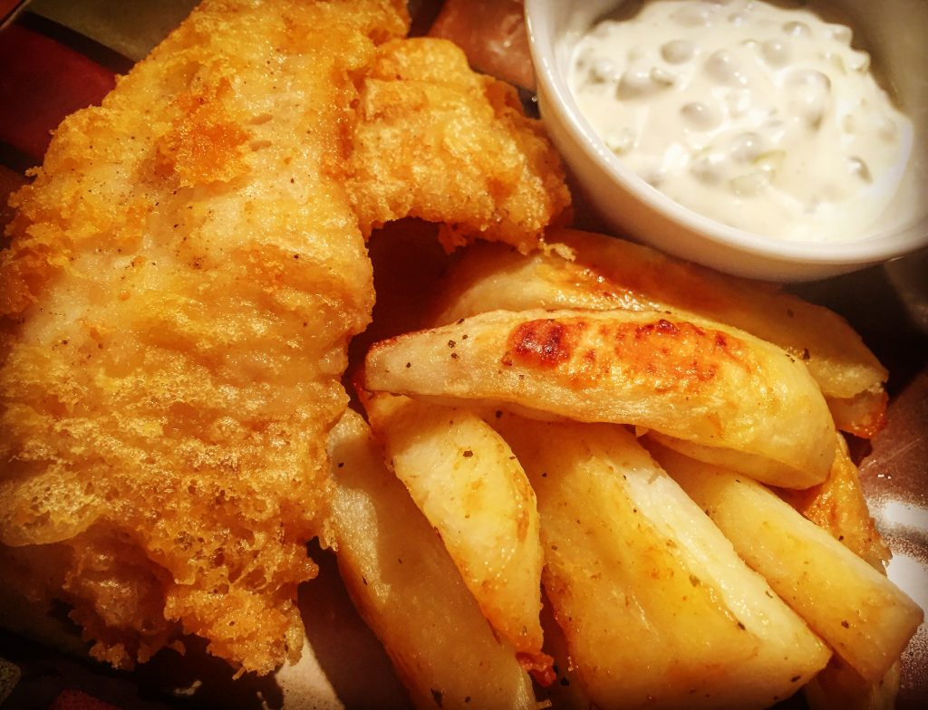 Gluten free fish and chips with homemade dairy free tartar sauce