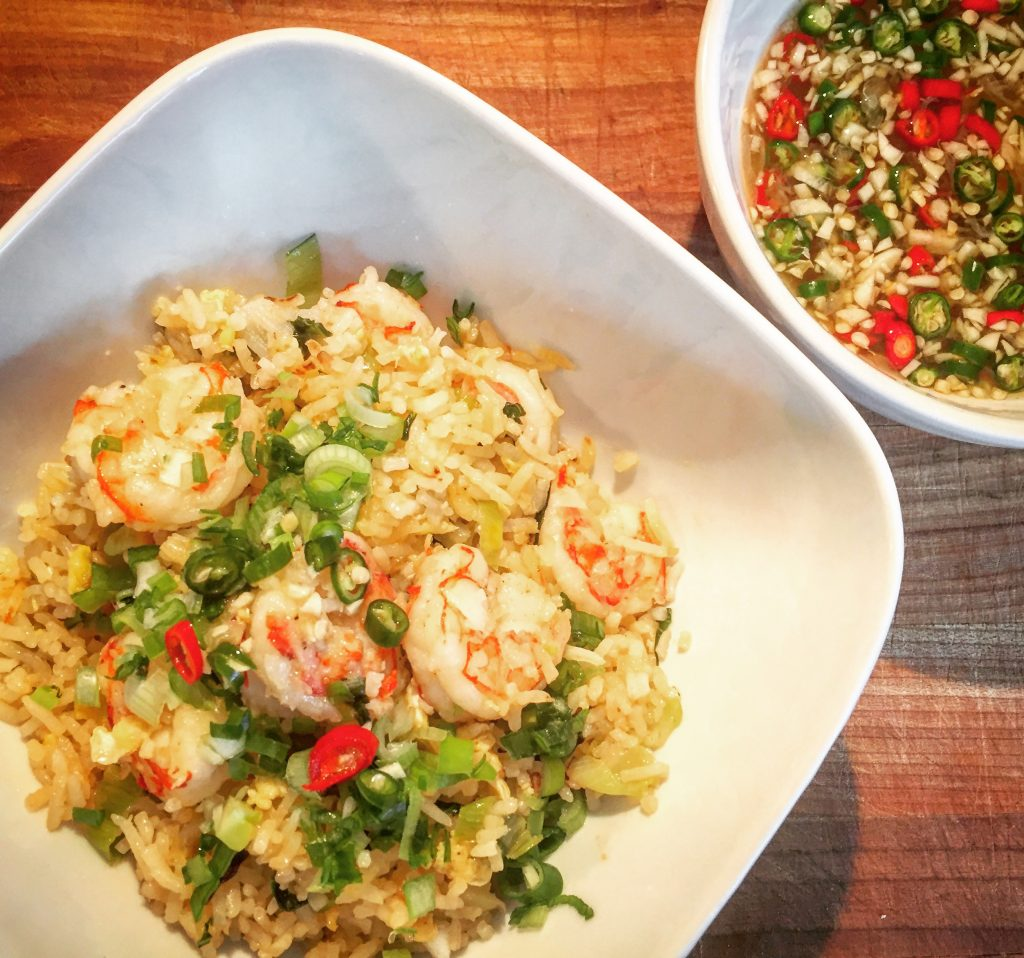 Completely addictive Thai Fried Rice (Khao Pad Goong) with a side of genuine Prik Nam Pla sauce